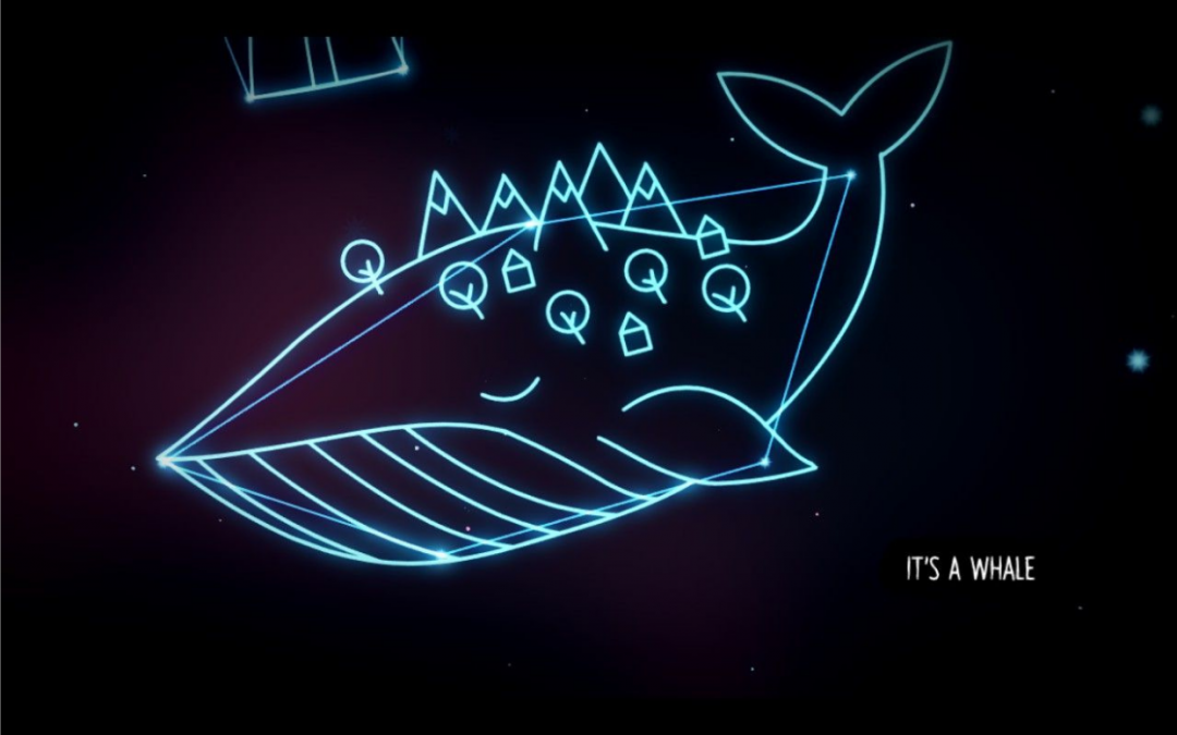"""On a black screen, a whale is outlined in blue. The whale has stick-figure mountains, trees, and houses on it. The text says, """"It's a whale."""" Night in the Woods, Infinite Fall, 2017."""