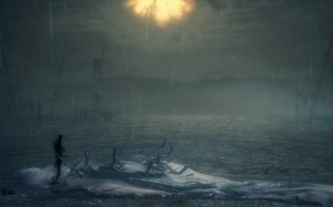 Screenshot of the Orphan of Kos and his mother's corpse, while it rains. Bloodborne, FromSoftware, Sony Entertainment, 2015.