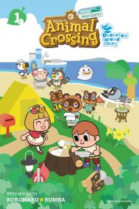 Animal Crossing characters having fun on the beach, crafting things and cutting logs by their tent