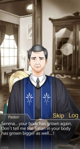 """A screenshot of the pastor saying, """"Serena… your body has grown again. Don't tell me the Satan in your body has grown as well...!"""" Mystic Messenger, Cheritz, 2017."""