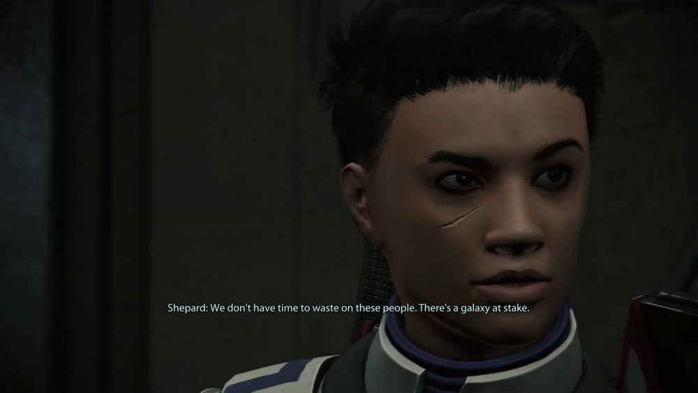 """A screenshot from Mass Effect 1. Sheperd says, """"We don't have time to waste on these people. There's a galaxy at stake.""""Mass Effect Legendary Edition, BioWare, Electronic Arts, 2021"""