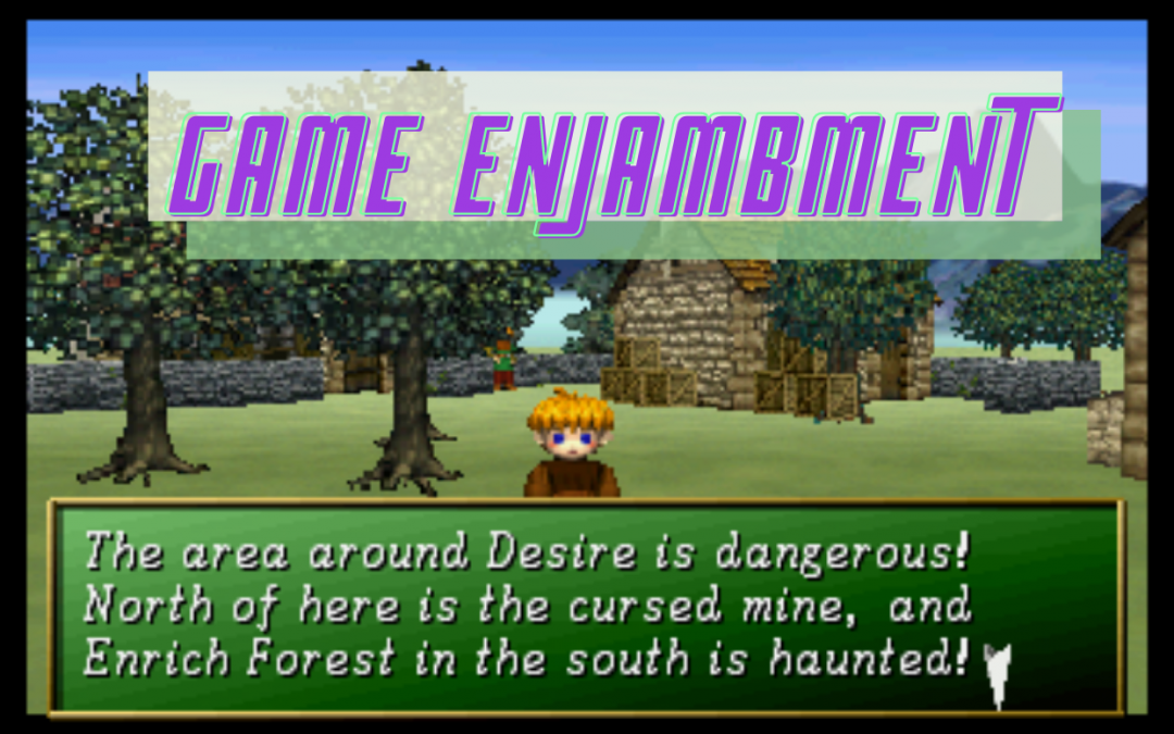 """A screenshot of a 8-bit character with reddish hair standing in front of a brick home and trees. A box in green reads, """"The area around Desire is dangerous! North of here is the cursed mine, and Enrich Forest in the south is haunted!"""" The words """"Game Enjambment"""" are overlaid on the top in purple letters. Shining the Holy Ark, Sonic! Software Planning, Sega, 1996."""